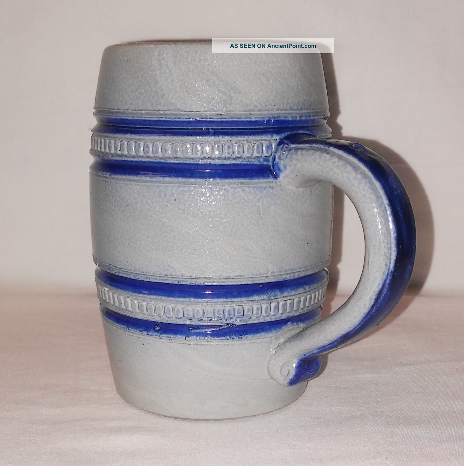 Antique B&d Salt Glaze Stoneware Stein Mug Cobalt Blue On Gray W/ Beaded Rings Mugs & Tankards photo