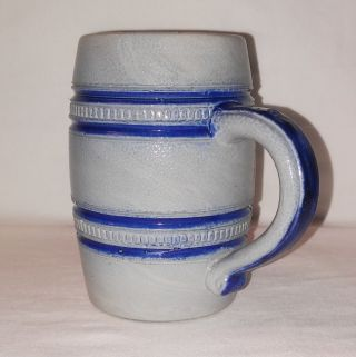 Antique B&d Salt Glaze Stoneware Stein Mug Cobalt Blue On Gray W/ Beaded Rings photo