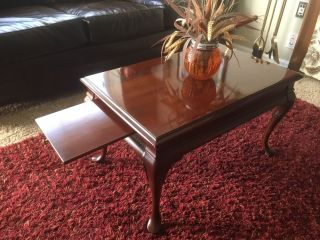 Gordons Coffee Table Mahogony Wood Fine Furniture Vintage Solid Pull Out Extends photo