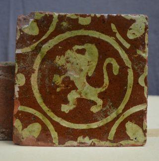 Early 17th Century Dutch Slib Ware Tile Whit A Lion Decor. photo