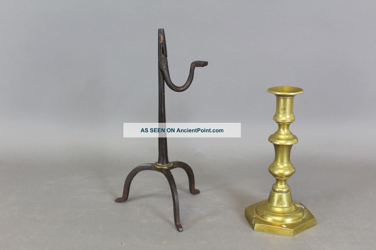 Museum Quality 18th C Wrought Iron And Brass Decorated Rushlight In Old Surface Primitives photo
