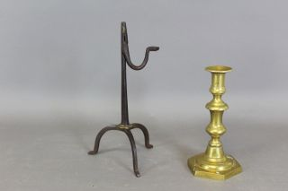 Museum Quality 18th C Wrought Iron And Brass Decorated Rushlight In Old Surface photo
