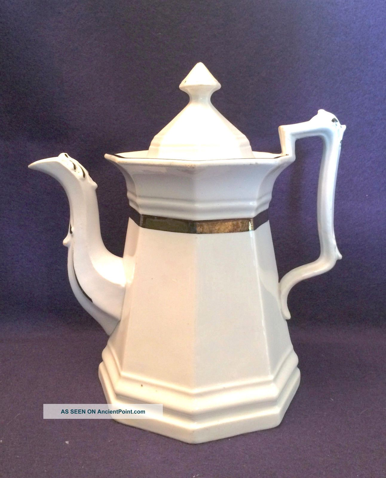 Antique White Ironstone China Copper Luster Trim Coffee Pot Colonial Tankard Pitchers photo