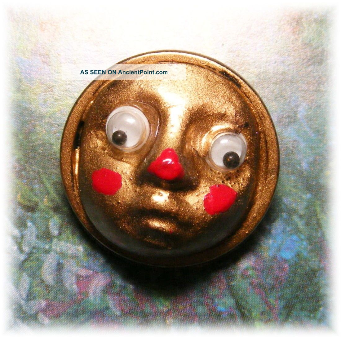 Introducing Googly Oogly W Moving Eyes & Cute Red Nose Acrylic In Brass Button Buttons photo