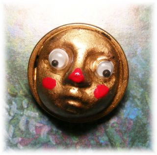 Introducing Googly Oogly W Moving Eyes & Cute Red Nose Acrylic In Brass Button photo