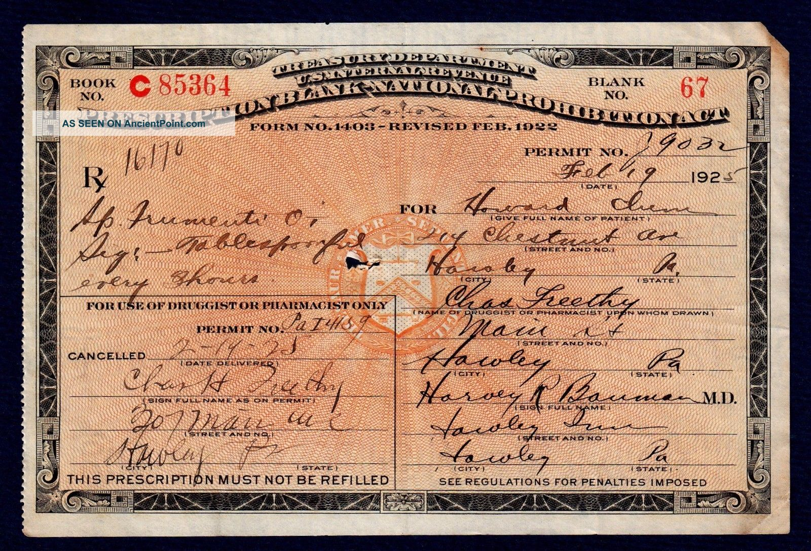 Old 1925 Alcohol Prohibition Prescription Rx Doctor Pharmacy Drug Store Inn Bar Other Medical Antiques photo