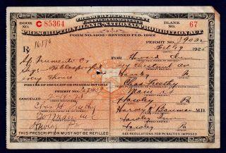 Old 1925 Alcohol Prohibition Prescription Rx Doctor Pharmacy Drug Store Inn Bar photo