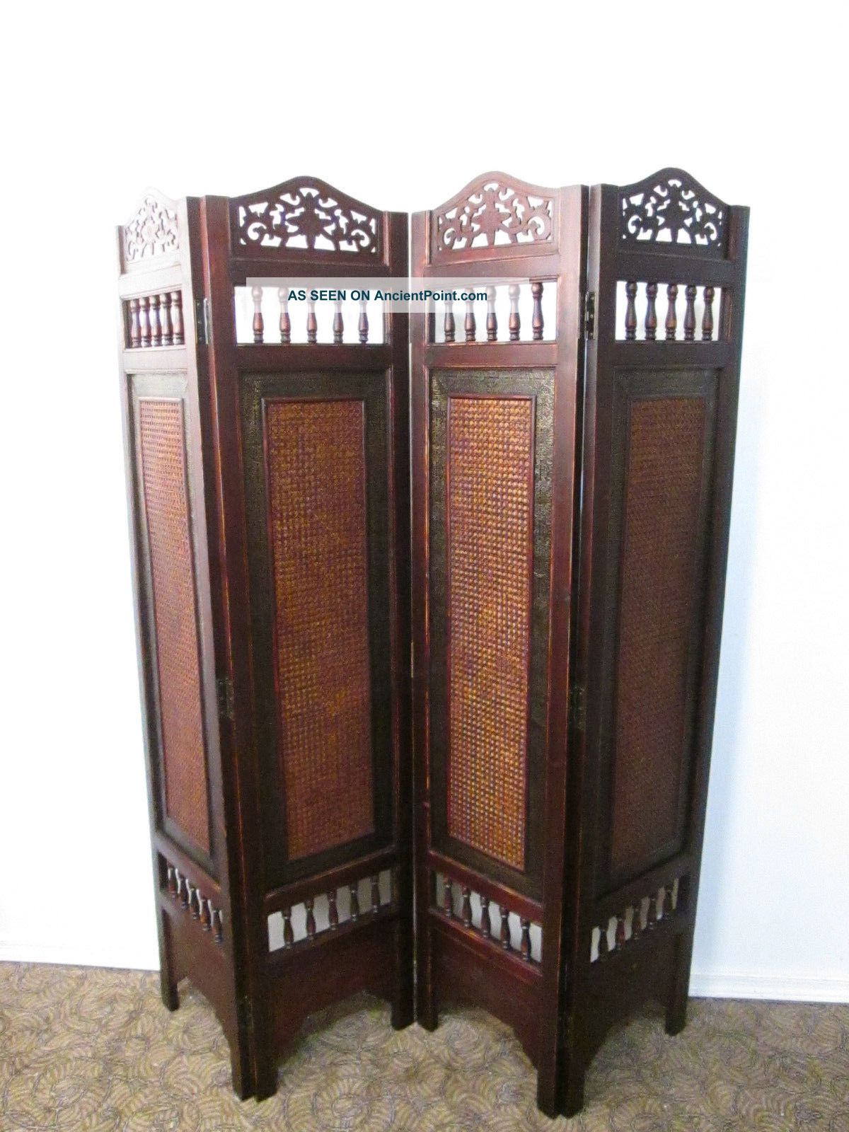 57924 Dressing Screen Room Divider 4 Section Other Antique Furniture photo
