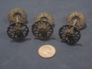 3 Available Antique Drawer Pull Knob W/ Ornate Rosette Back Plate Bronze photo