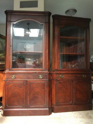 Pair Drexel Antique Mahogany Corner China Cabinet Curio 1930s photo