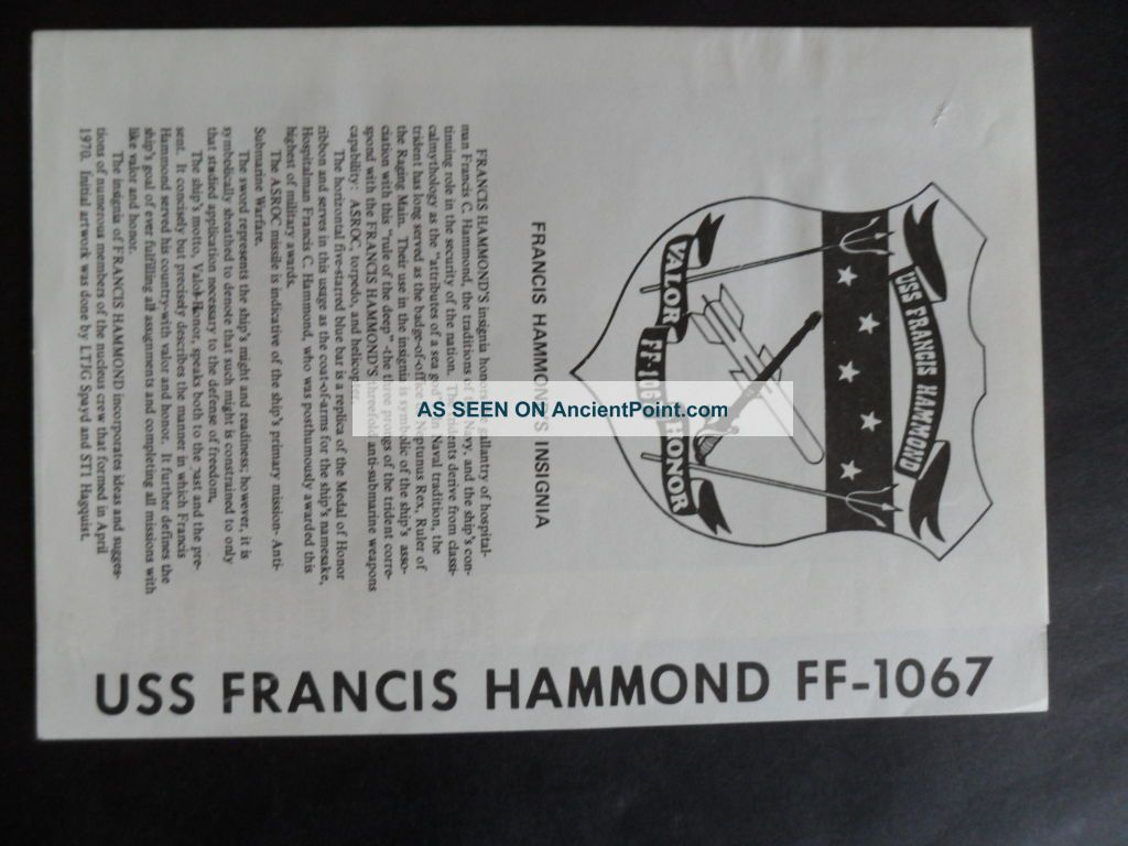 Naval / Us Navy Uss Francis Hammond (ff - 1067) Welcome Aboard 1970 ' S Other Maritime Antiques photo