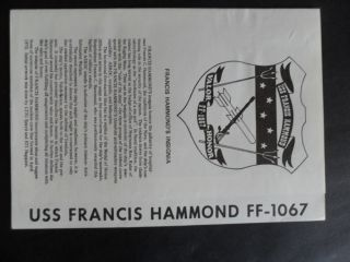 Naval / Us Navy Uss Francis Hammond (ff - 1067) Welcome Aboard 1970 ' S photo