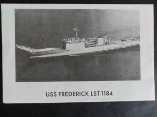 Naval / Us Navy Uss Frederick (lst - 1184) Welcome Aboard 1970 ' S photo