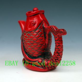 Chinese Red Turquoise Hand - Carved Big Fish Tea Pot photo
