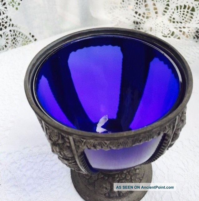 Antique Art Nouveau Edwardian Cobalt Blue Color Glass Insert Metal Goblet Usa The Americas photo