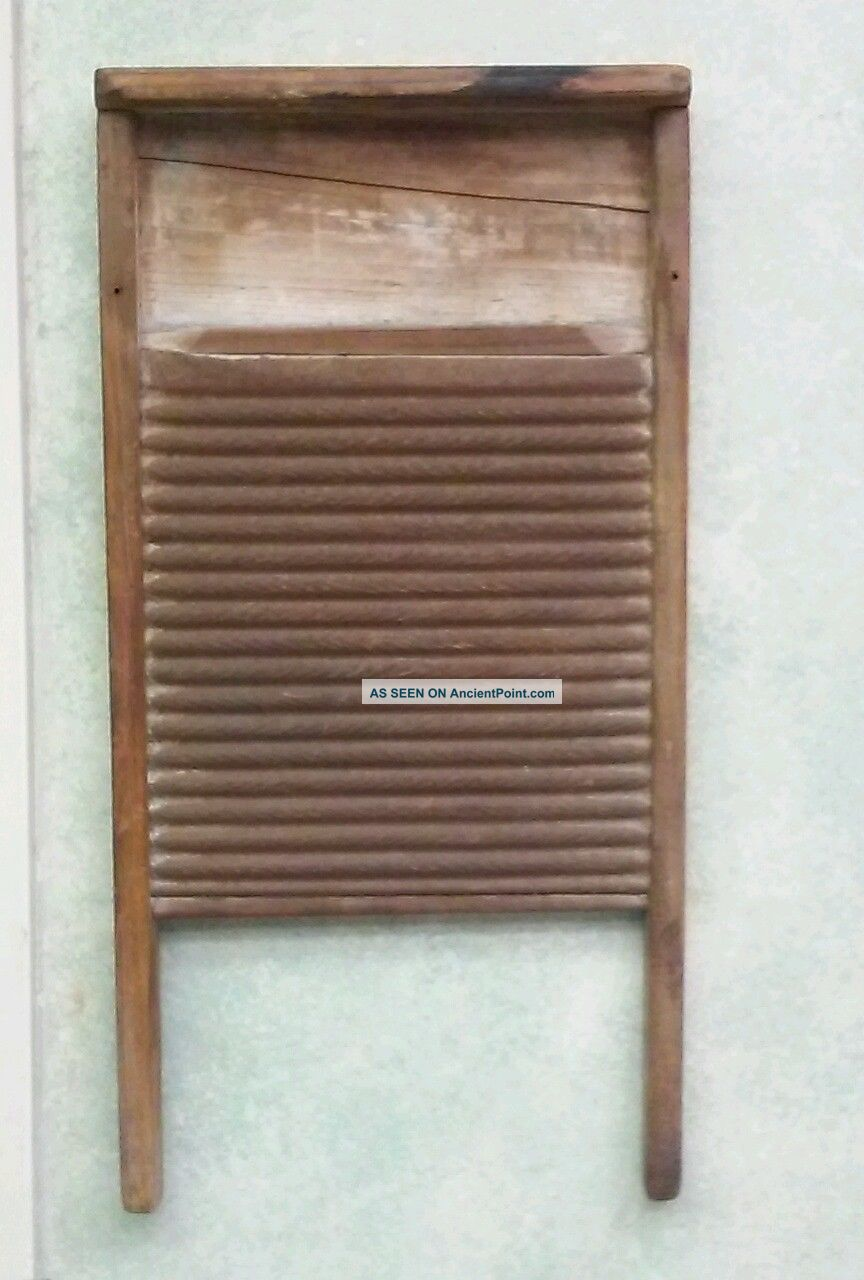 Vintage Old Wooden Metal Washboard Primitives photo