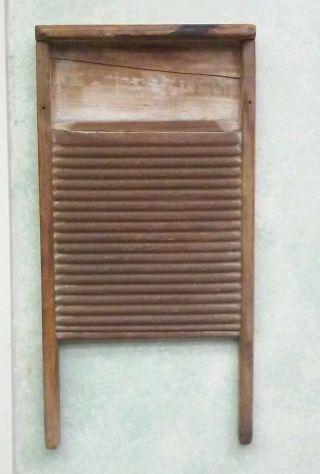 Vintage Old Wooden Metal Washboard photo