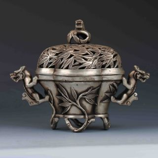 Chinese Tibetan Silver Hand - Carved Dragon Incense Burner&lid W Xuande Mark G457 photo