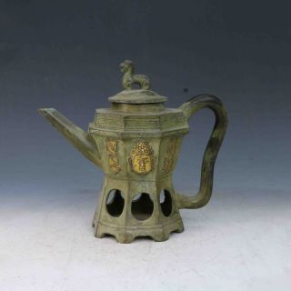 Chinese Bronze Gilt Hand - Carved Buddha Teapot X0279 photo