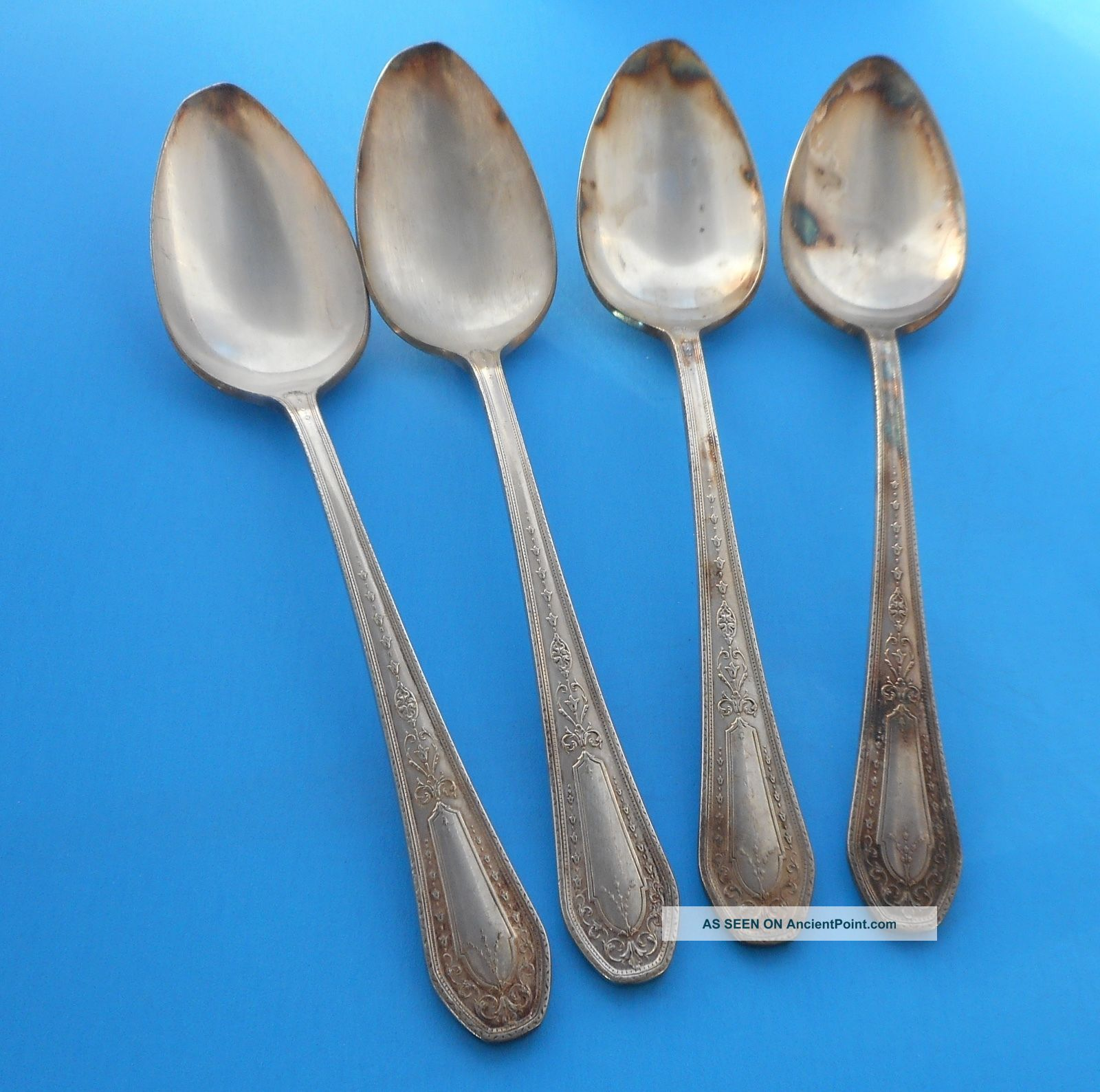 Oneida Community 1926 Hampton Court Silverplate Flatware Serving Spoons (4) Flatware & Silverware photo