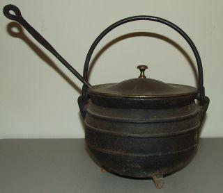 Antique Victorian Cast Iron /brass Fireplace Cauldron & Wand Hearth Fire Starter photo