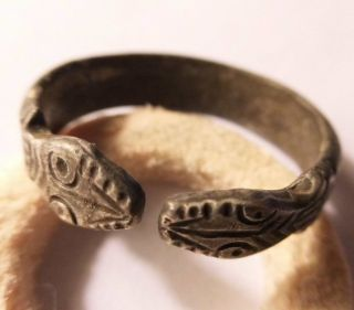 Ancient Roman Large Silver Seal Ring 4th - 3rd Century With 2 Snake Heads R photo