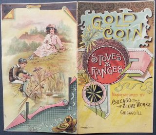 1880 ' S Gold Coin Stoves & Ranges 4 Sided Vintage Trade Card Chicago Stove photo