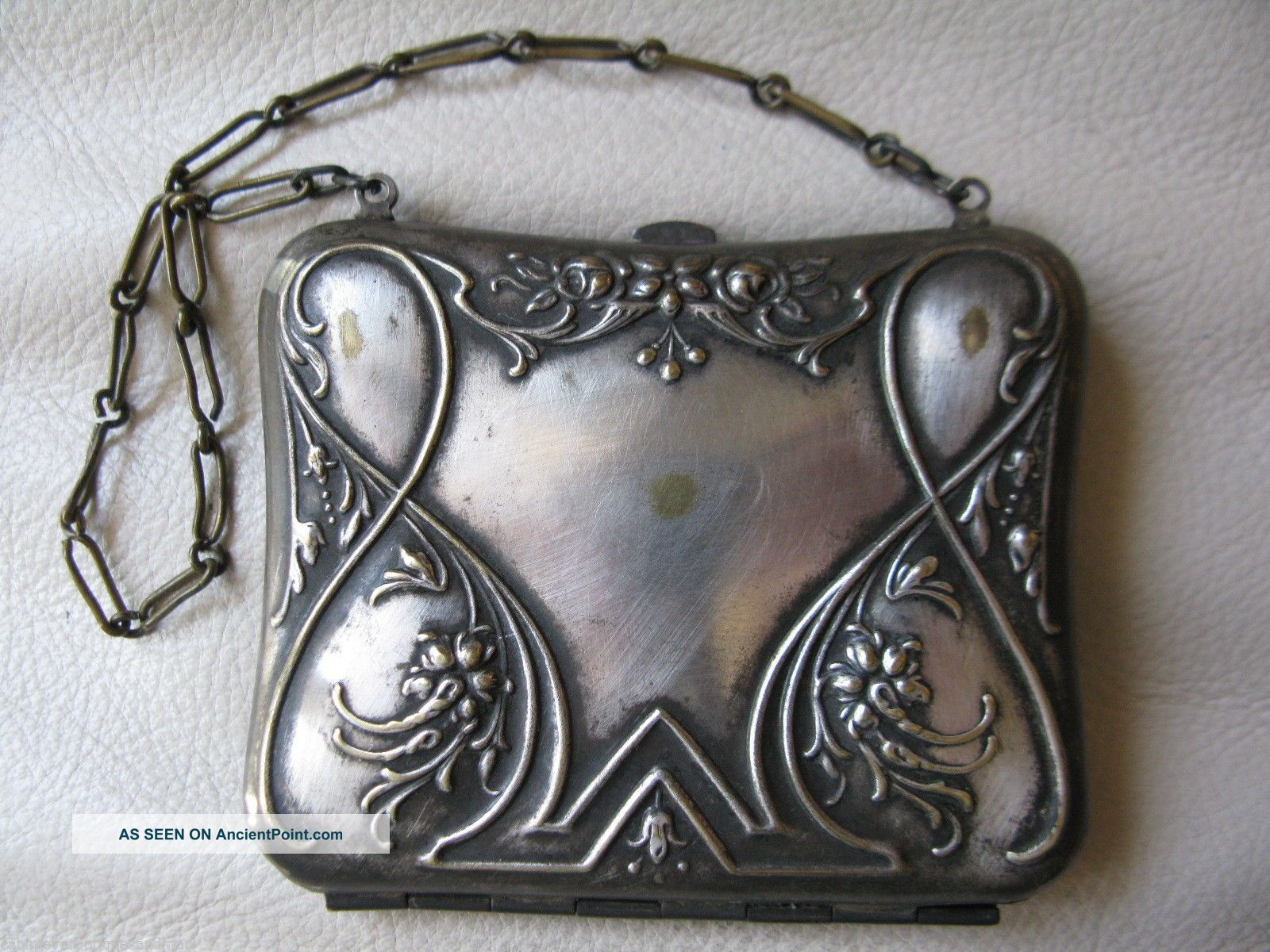 Antique Victorian Art Nouveau Silver Travel Sewing Needle Card Case Coin Purse Needles & Cases photo
