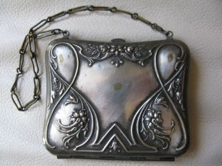 Antique Victorian Art Nouveau Silver Travel Sewing Needle Card Case Coin Purse photo