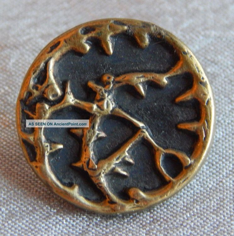 Antique Vintage Brass Picture Button Thorns Tree 1329 - A Buttons photo