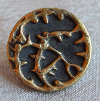 Antique Vintage Brass Picture Button Thorns Tree 1329 - A photo