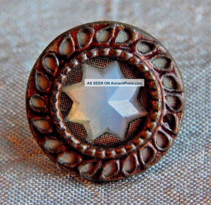 Antique Vintage Brass & Glass Waistcoat Button 1449 - A Buttons photo