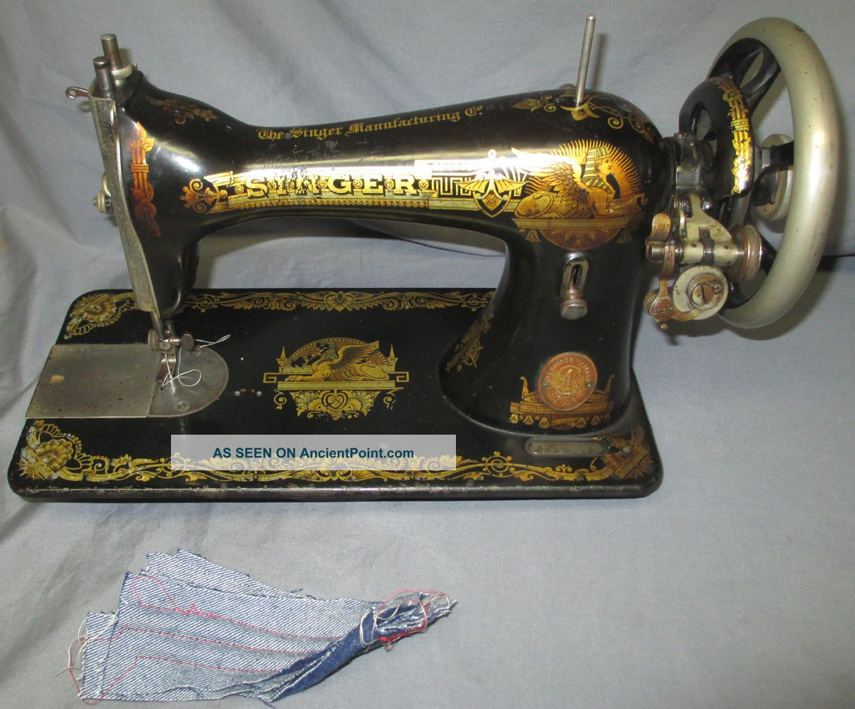 Serviced Antique 1909 Singer 15 - 30 Sphinx Treadle Sewing Machine See Video Sewing Machines photo