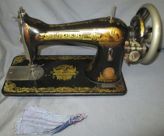 Serviced Antique 1909 Singer 15 - 30 Sphinx Treadle Sewing Machine See Video photo
