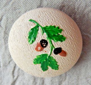 Antique Vintage Button Wood With Acorns Back Marked 1018 - A photo