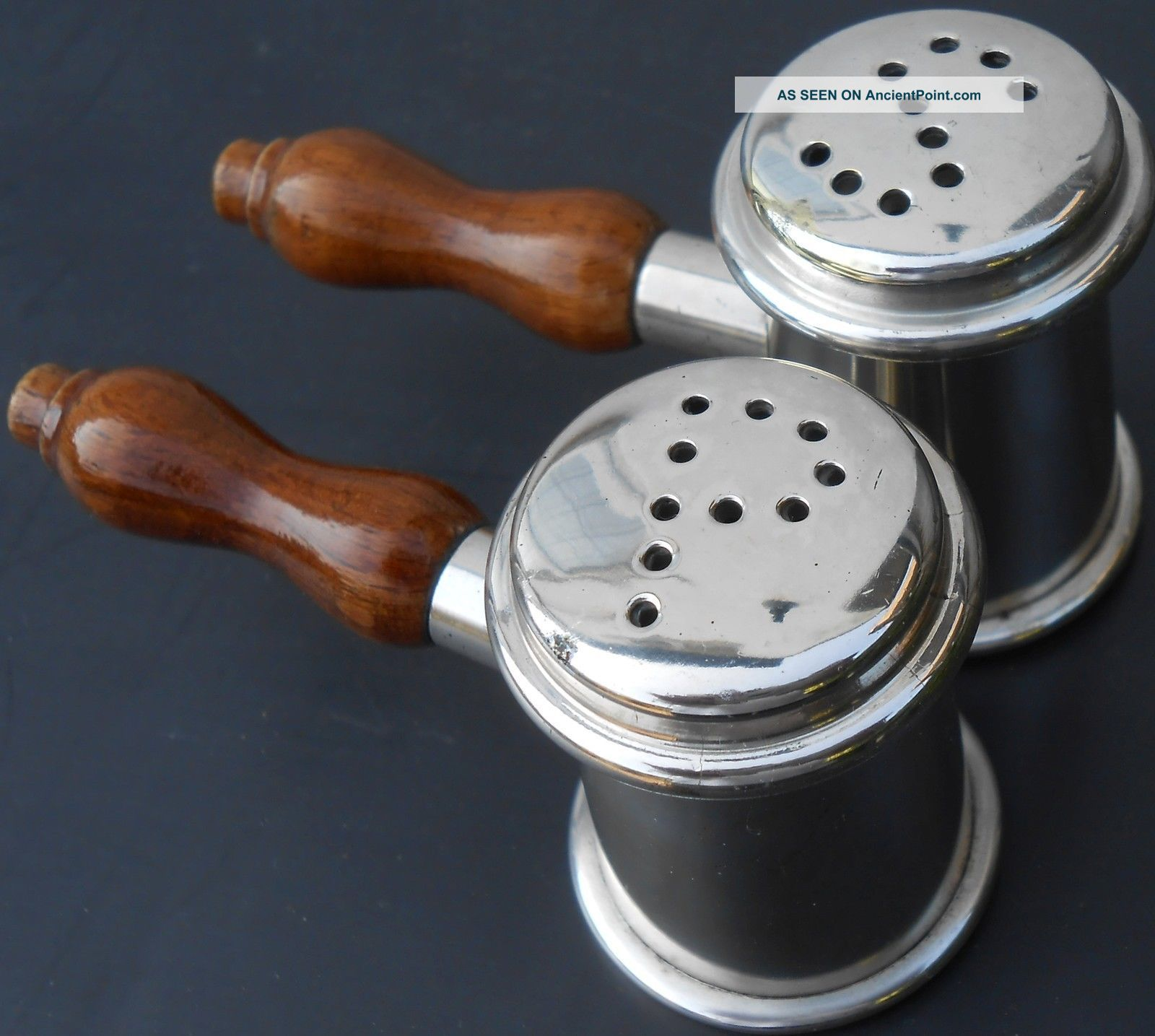 Pair Auctioneers Gavel Shaped Salt & Pepper Pots - Vintage - Silver Plated Salt & Pepper Cellars/Shakers photo