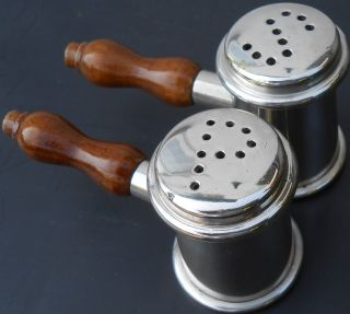 Pair Auctioneers Gavel Shaped Salt & Pepper Pots - Vintage - Silver Plated photo