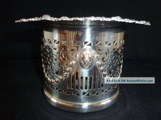 Antique Silver Plate On Copper Large Wine Bottle Holder Champagne Coaster Dishes & Coasters photo