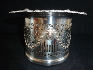 Antique Silver Plate On Copper Large Wine Bottle Holder Champagne Coaster photo