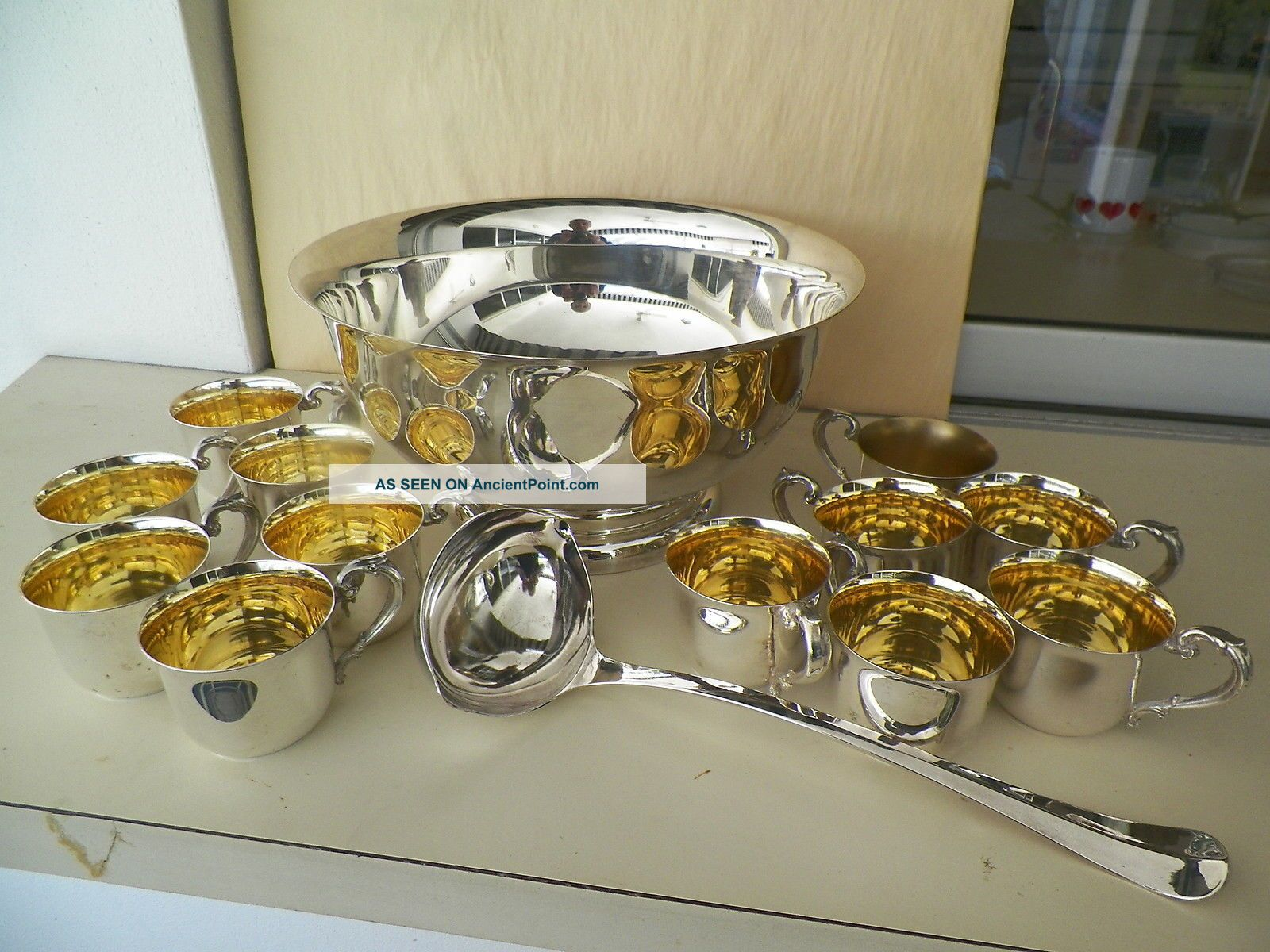 Sheridan 12  Silverplated Footed Punch Bowl,  12 Cups And Dual Spout Ladle Other Antique Silverplate photo