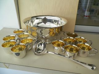 Sheridan 12  Silverplated Footed Punch Bowl,  12 Cups And Dual Spout Ladle photo