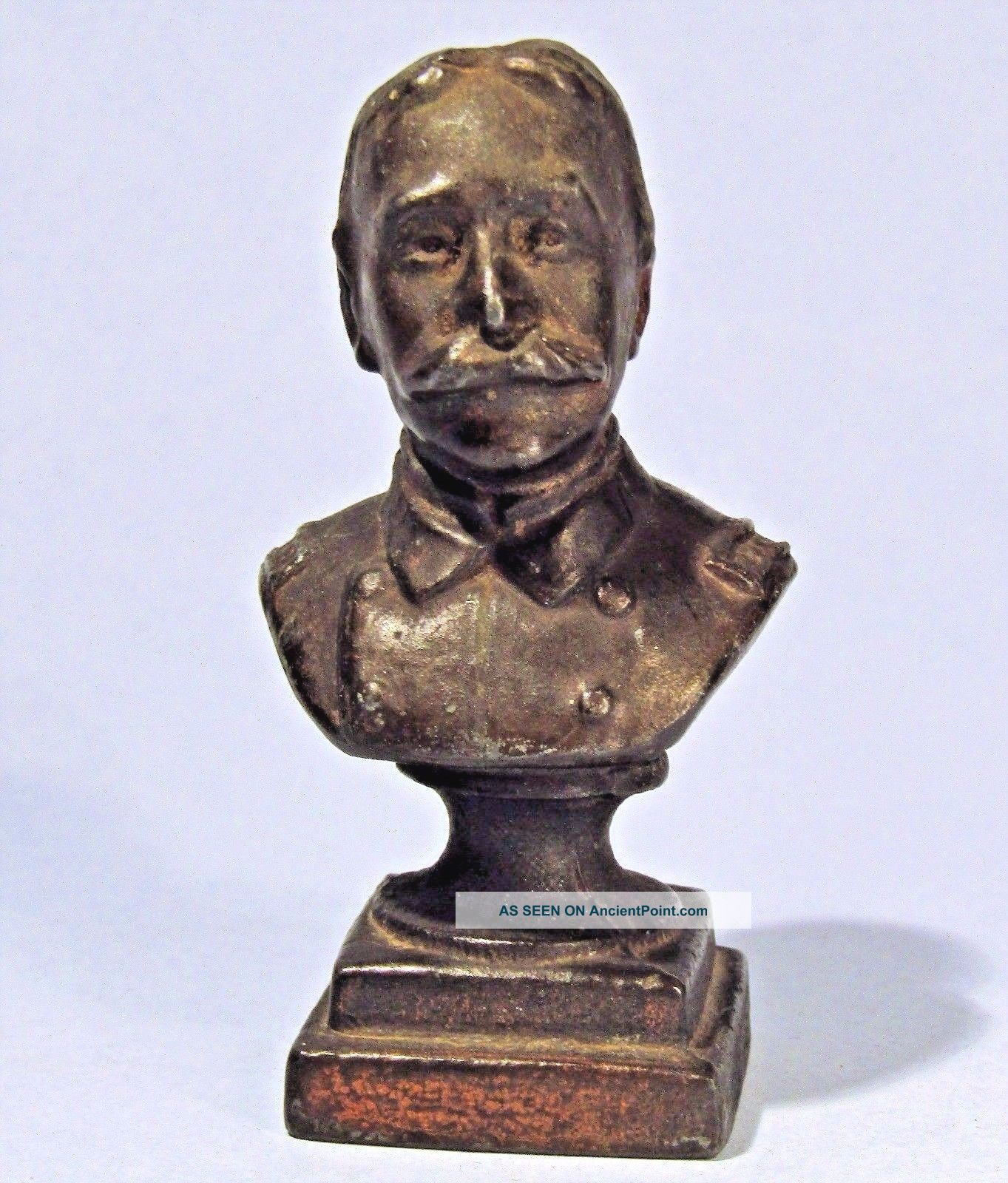 Admiral George Dewey Antique Miniature Metal Bust Spanish American War Hero Metalware photo