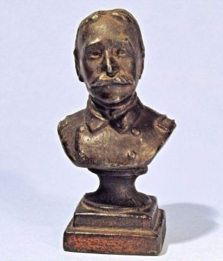 Admiral George Dewey Antique Miniature Metal Bust Spanish American War Hero photo