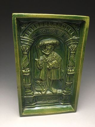 Old Green Majolica Glazed Deep Relief Architectural Tile photo