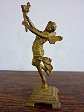 Antique Art Nouveau Bronze Winged Fairy Fairie Object D ' Art Statue photo