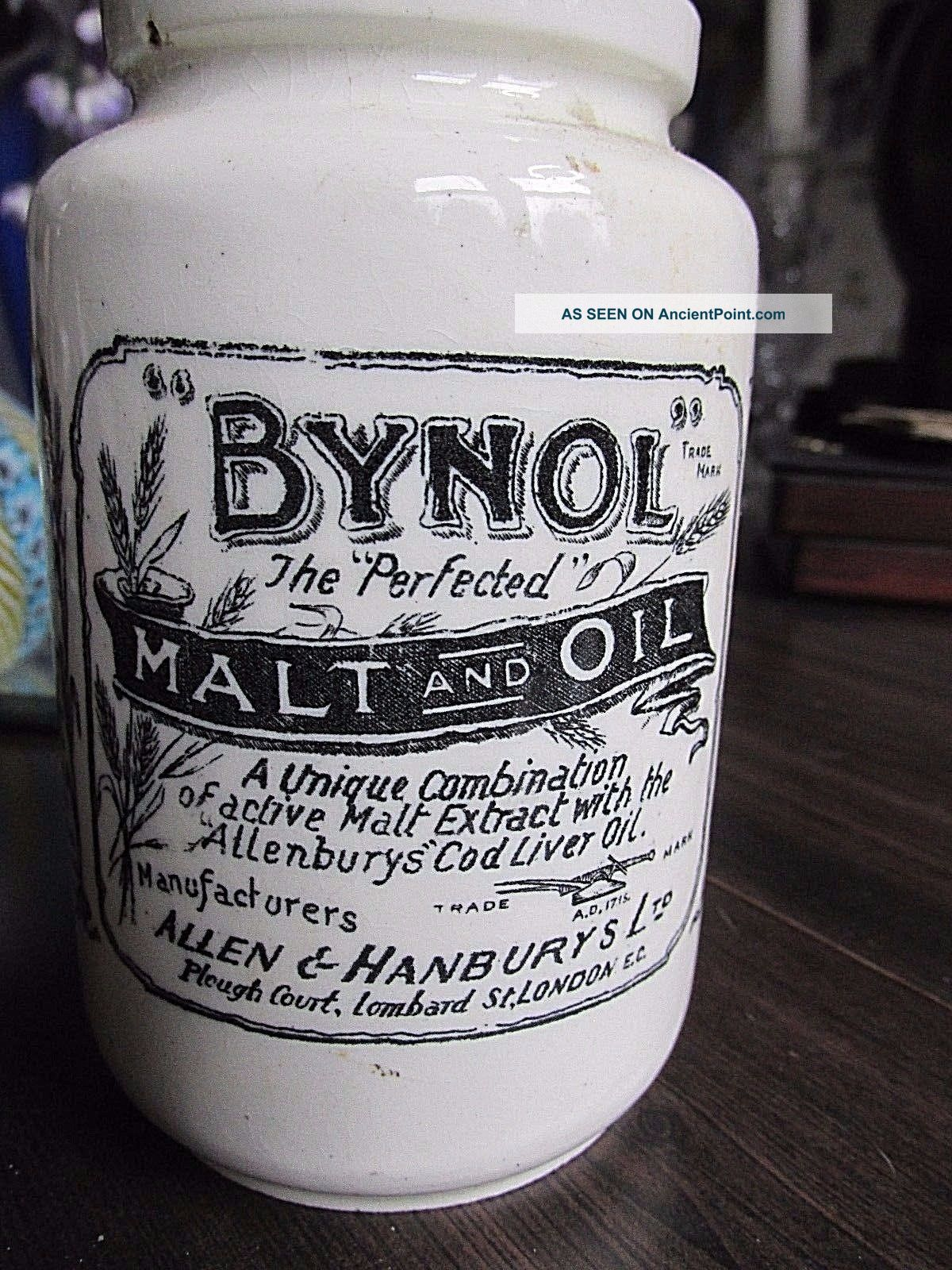 Antique Ironstone Medicine Advertising Jar Bynol England 1800s Apothecary Bottle Bottles & Jars photo