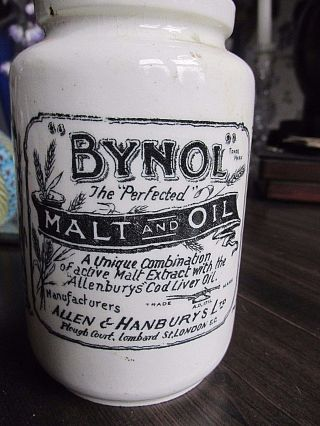 Antique Ironstone Medicine Advertising Jar Bynol England 1800s Apothecary Bottle photo