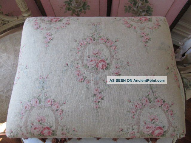The Best Old Vintage French Stool Gorgeous Fabric Pink Roses Fringe Unknown photo