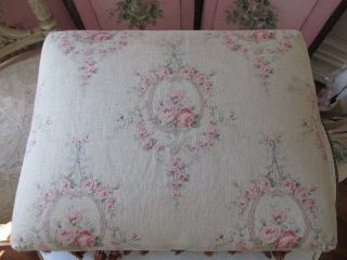 The Best Old Vintage French Stool Gorgeous Fabric Pink Roses Fringe photo