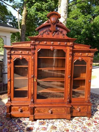 Monumental Renaissance Victorian Carved Bookcase Thomas Brooks Hart Malone photo